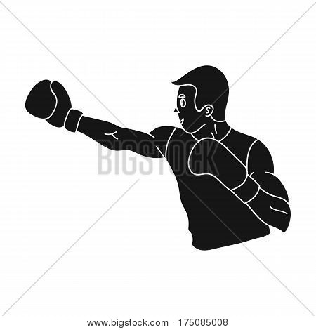 Brown boxer in Boxing gloves.The active sport of Boxing.active sports single icon in black style vector symbol stock web illustration.