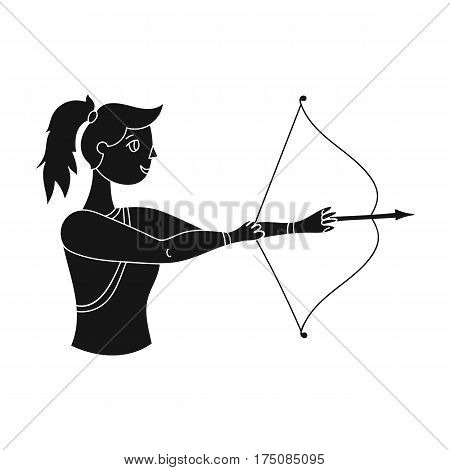 A girl stands in profile and holds the bow.Shooting a bow at a target.active sports single icon in black style vector symbol stock web illustration.