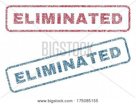 Eliminated text textile seal stamp watermarks. Blue, red fabric vectorized texture. Vector caption inside rounded rectangular shape. Rubber sticker with fiber textile structure.