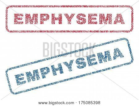 Emphysema text textile seal stamp watermarks. Blue, red fabric vectorized texture. Vector caption inside rounded rectangular shape. Rubber sign with fiber textile structure.
