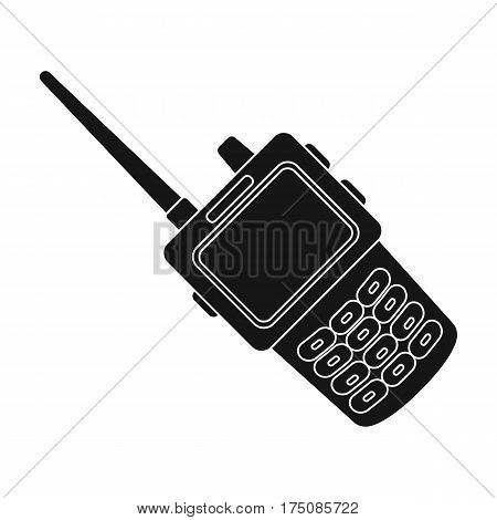 Handheld transceiver icon in black design isolated on white background. Police symbol stock vector illustration.