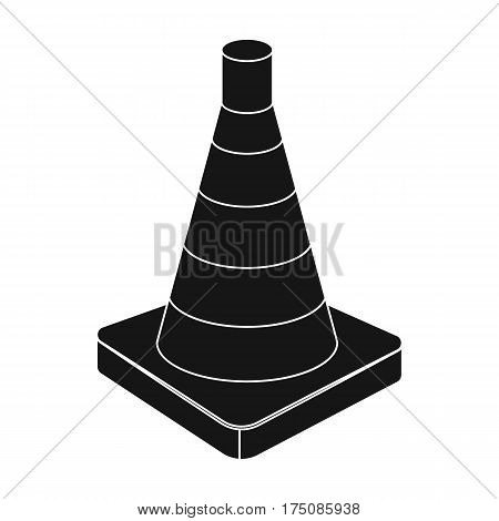 Traffic cone icon in black design isolated on white background. Police symbol stock vector illustration.