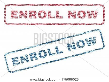 Enroll Now text textile seal stamp watermarks. Blue, red fabric vectorized texture. Vector caption inside rounded rectangular shape. Rubber sticker with fiber textile structure.