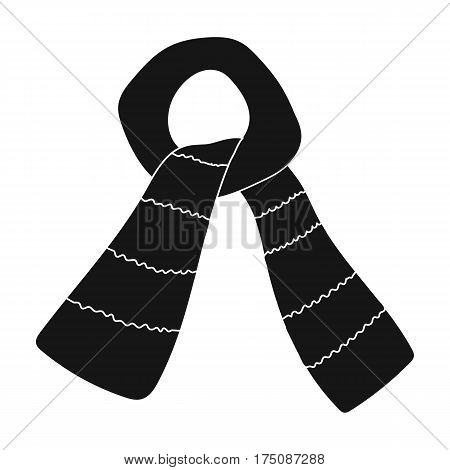 Scarf for boy and girl in cold weather. Coton green scarf.Scarf tied in a knot.Scarves and shawls single icon in black style vector symbol stock web illustration.