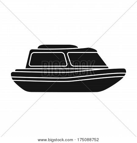 Orange rescue boat.Boat to rescue the drowning persons.Ship and water transport single icon in black style vector symbol stock web illustration.