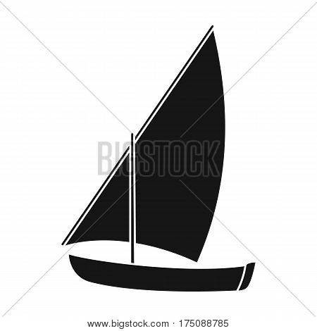 Little river sailing for fun.The boat which sails through the wind.Ship and water transport single icon in black style vector symbol stock web illustration.