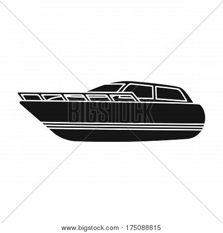 White motor boat to transport a few people.One of the types of water transport.Ship and water transport single icon in black style vector symbol stock web illustration.
