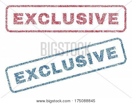 Exclusive text textile seal stamp watermarks. Blue, red fabric vectorized texture. Vector caption inside rounded rectangular shape. Rubber sticker with fiber textile structure.
