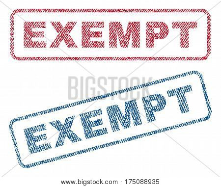 Exempt text textile seal stamp watermarks. Blue, red fabric vectorized texture. Vector tag inside rounded rectangular banner. Rubber sign with fiber textile structure.