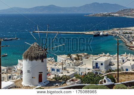 Amazing view of White windmills on the island of Mykonos, Cyclades, Greece