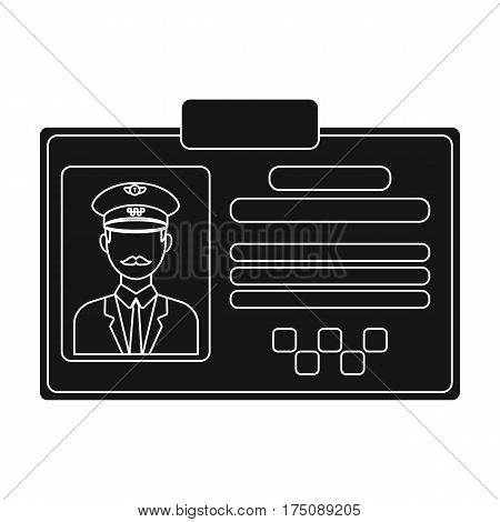 Driver document taxi.Plastik card taxi driver with photo Taxi station single icon in black style vector symbol stock web illustration.