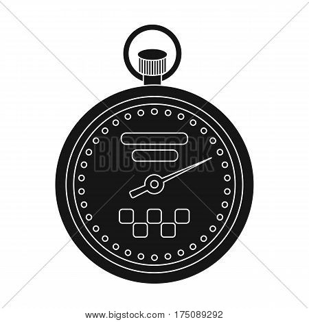 Yellow stopwatch with taxi emblem. Equipment measure the time of filing a taxi. Taxi station single icon in black style vector symbol stock web illustration.