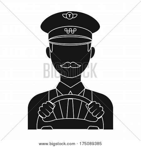 Taxi driver wearing a cap. Man is driving a taxi car. Taxi station single icon in black style vector symbol stock web illustration.
