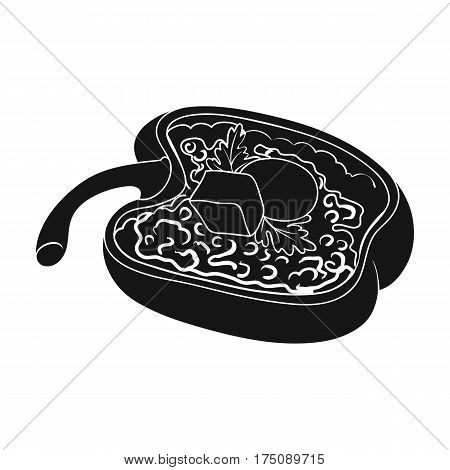 Red sweet pepper stuffed with vegetables.Healthy vegetarian dish.Vegetarian Dishes single icon in black style vector symbol stock web illustration.