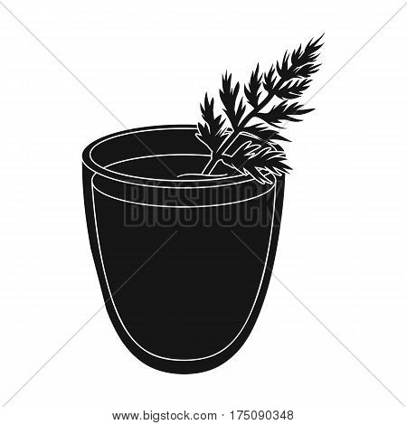 A glass with orange drink and a leaf.Healthy vegetarian carrot juice.Vegetarian Dishes single icon in black style vector symbol stock web illustration.