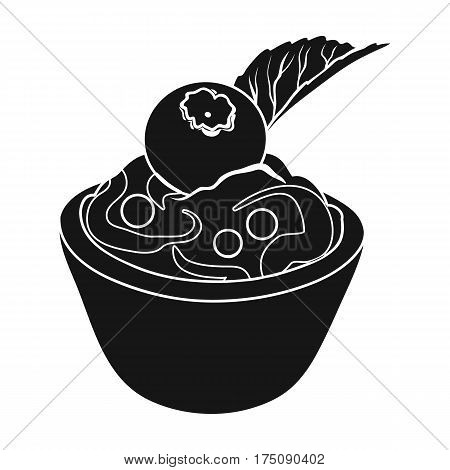 Vegetarian dessert. For vegetarians ice cream in a chocolate Cup and blueberry.Vegetarian Dishes single icon in black style vector symbol stock web illustration.