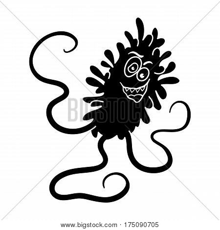 Violet virus icon in black design isolated on white background. Viruses and bacteries symbol stock vector illustration.
