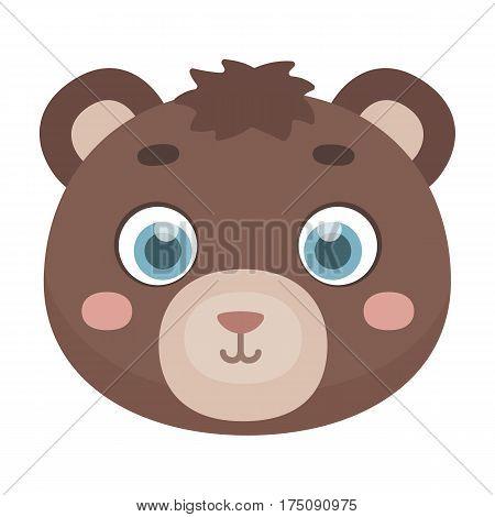 Bear muzzle icon in cartoon design isolated on white background. Animal muzzle symbol stock vector illustration.