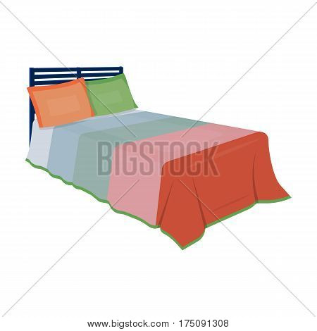 Baby bed with colorful blanket.Bed for sleeping .Bed single icon in cartoon style vector symbol stock web illustration.