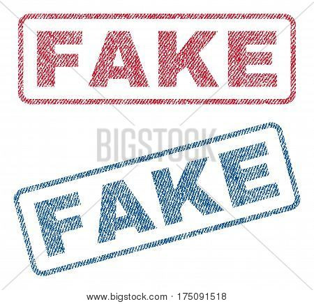 Fake text textile seal stamp watermarks. Blue, red fabric vectorized texture. Vector caption inside rounded rectangular banner. Rubber emblem with fiber textile structure.
