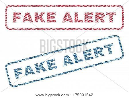 Fake Alert text textile seal stamp watermarks. Blue, red fabric vectorized texture. Vector tag inside rounded rectangular banner. Rubber sticker with fiber textile structure.