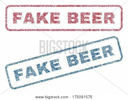 Fake Beer text textile seal stamp watermarks. Blue, red fabric vectorized texture. Vector caption inside rounded rectangular banner. Rubber sign with fiber textile structure.