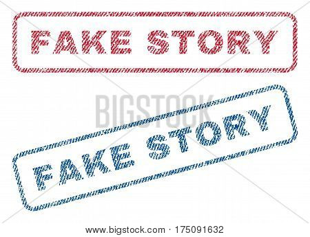 Fake Story text textile seal stamp watermarks. Blue, red fabric vectorized texture. Vector tag inside rounded rectangular banner. Rubber emblem with fiber textile structure.