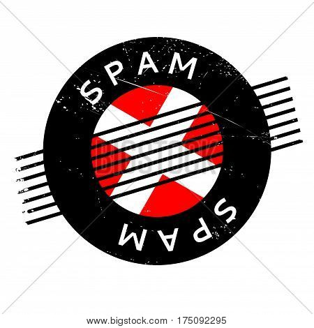 Spam rubber stamp. Grunge design with dust scratches. Effects can be easily removed for a clean, crisp look. Color is easily changed.