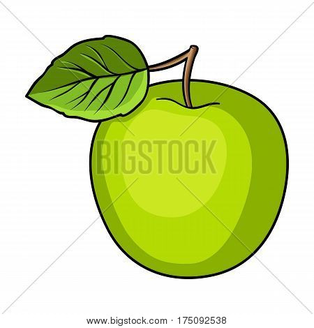 Green Apple with leaf.Proper diet for diabetes.Diabetes single icon in cartoon style vector symbol stock web illustration.