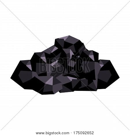 Black minerals from the mine.Coal, which is mined in the mine.Mine Industry single icon in cartoon style vector symbol stock web illustration.