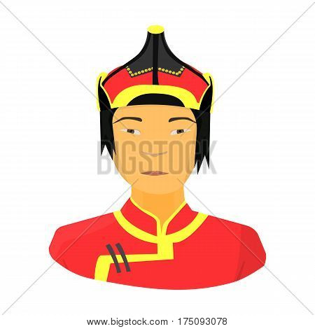 The Mongols in the helmet.Mongolian national protection.Mongolia single icon in cartoon style vector symbol stock web illustration.