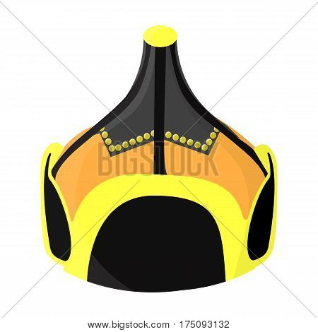 Mongolian military helmet.Colored metal helmet conical shape.Mongolia single icon in cartoon style vector symbol stock web illustration.