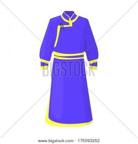Blue Bathrobe of Mongolians.Fragment nominalnog clothes of Mongolia.Mongolia single icon in cartoon style vector symbol stock web illustration.