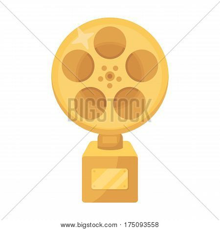 The Golden reel of film.Award for the best playback of the movie.Movie awards single icon in cartoon style vector symbol stock web illustration.