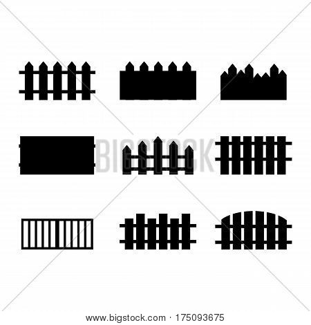 Set of rural black fences silhouettes isolated on white background