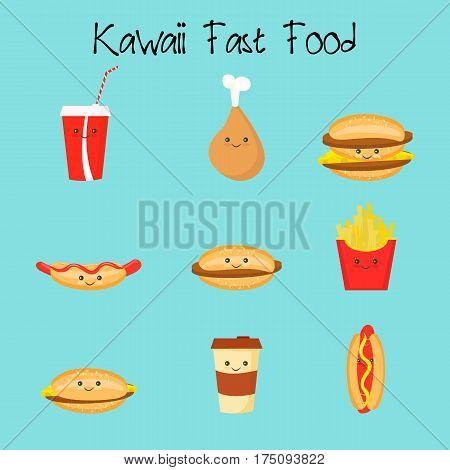 Cartoon potato, cheeseburger, burger, double, nuggets chicken coffee hot dogs Kawaii Fastfood