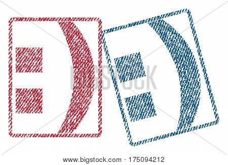 Colon text textile seal stamp watermarks. Blue, red fabric vectorized texture. Vector tag inside rounded rectangular shape. Rubber sign with fiber textile structure.