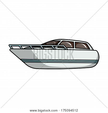 White motor boat to transport a few people.One of the types of water transport.Ship and water transport single icon in cartoon style vector symbol stock web illustration.