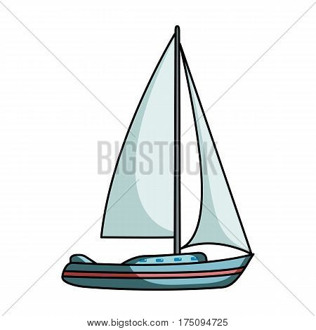 Sailboat for sailing.Boat to compete in sailing.Ship and water transport single icon in cartoon style vector symbol stock web illustration.