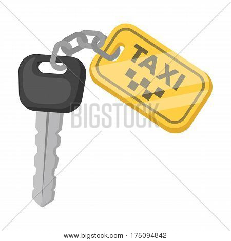 The ignition key for a yellow taxi. Taxi station single icon in cartoon style vector symbol stock web illustration.