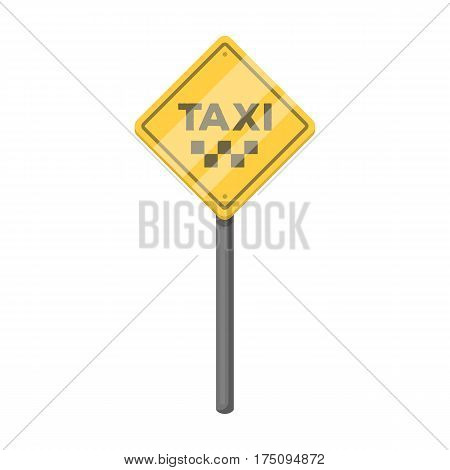 Taxi stop road sign. Parking zone for yellow taxi. Taxi station single icon in cartoon style vector symbol stock web illustration.