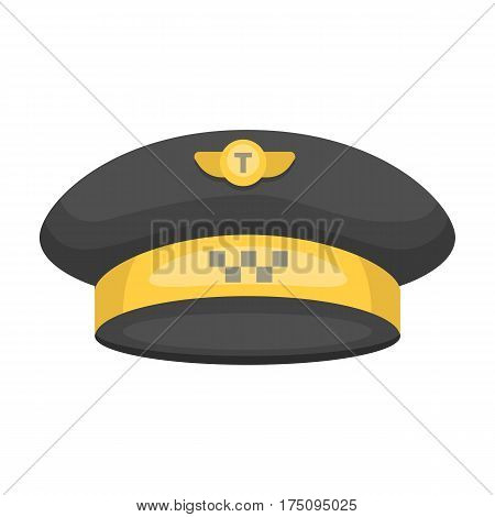 Black cap with the logo of a taxi. Uniforms taxi driver. Taxi station single icon in cartoon style vector symbol stock web illustration.