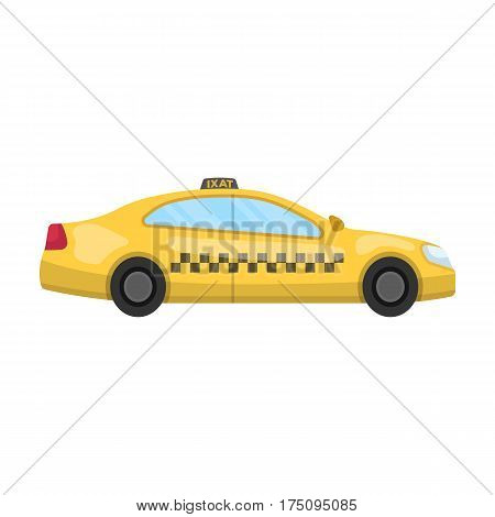 Yellow taxi car in profile.Transport taxi station for passengers. Taxi station single icon in cartoon style vector symbol stock web illustration
