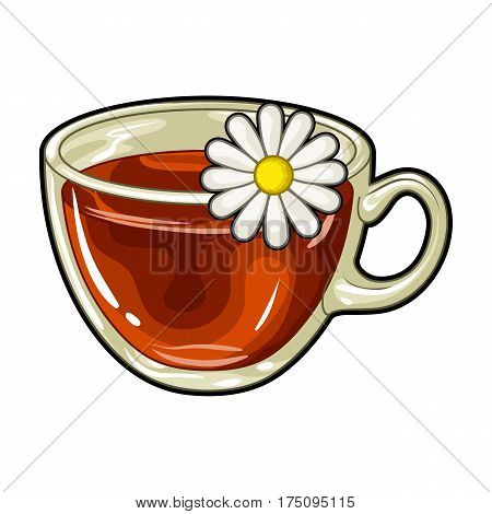 Glass mug with tea useful.Vegetarian therapeutic chamomile tea.Vegetarian Dishes single icon in cartoon style vector symbol stock web illustration.