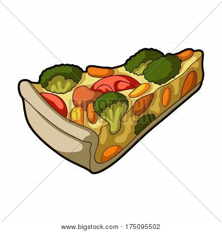 Vegetarian vegetable pie.Pie of vegetables without meat for vegetarians.Vegetarian Dishes single icon in cartoon style vector symbol stock web illustration.