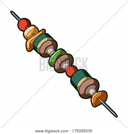 Grilled vegetables on a skewer.Vegetarian meals for cooking outdoors.Vegetarian Dishes single icon in cartoon style vector symbol stock illustration.