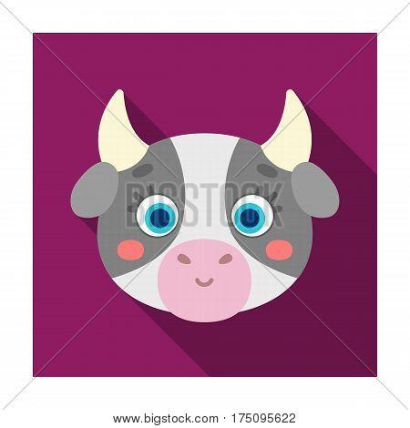 Cow muzzle icon in flat design isolated on white background. Animal muzzle symbol stock vector illustration.