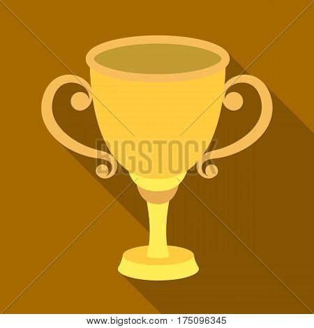 Gold Cup for the first place.The award winner of the racing competition.Awards and trophies single icon in flat style vector symbol stock web illustration.