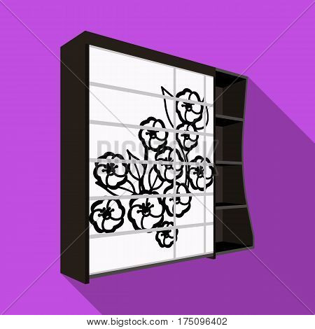 Black bedroom wardrobe with cells.Wardrobe with a beautiful rose on the door.Bedroom furniture single icon in flat style vector symbol stock web illustration.