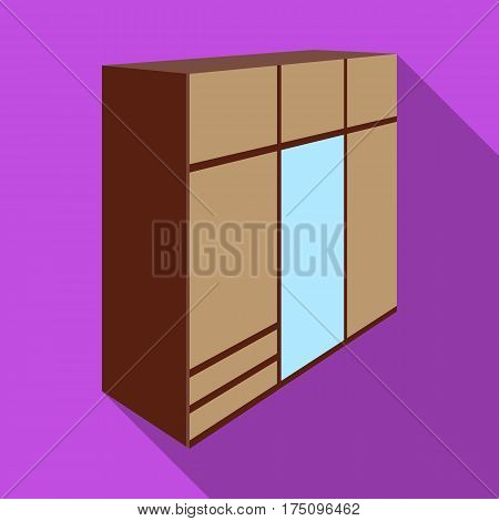 A large bedroom wardrobe with mirrow and lots of drawers and cells.Bedroom furniture single icon in flat style vector symbol stock web illustration.